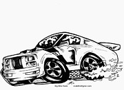 Custom Ford Drawings Metal Prints - Mustang GT Metal Print by Big Mike Roate