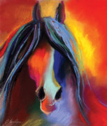 Animal Drawings Prints - Mustang Horse Painting Print by Svetlana Novikova
