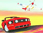 Mustang Aviation Art Paintings - Mustang Mustang Two by Dennis Vebert