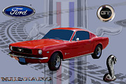 Sports Art Digital Art Posters - Mustang Poster Poster by Tommy Anderson
