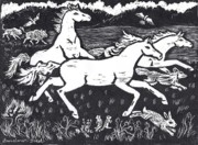 American West Drawings - Mustangs Frisking on the High Plains by Dawn Senior-Trask