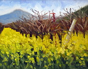 Grapevines Painting Originals - Mustard and Vines by Char Wood