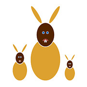 Kids Drawings Prints - Mustard Bunnies Print by Frank Tschakert