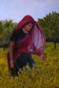 Betty Pimm Art - Mustard Fields of India by Betty Pimm