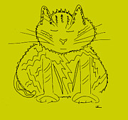 Animals Drawings - Mustard Meditation Cat by Lori Kirstein
