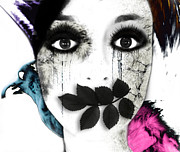 Female Art Mixed Media Print Mixed Media Posters - Mute Poster by Jennifer Bodrow