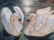 Swans Pastels - Mute Swans - River Severn by Irisha Golovnina