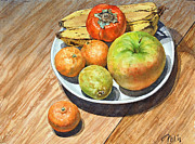 Persimmon Paintings - Mutsu Apple by Peter Sit