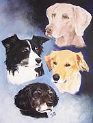 Pet Portrait Paintings - Mutt Hut Dogs by Janice M Booth