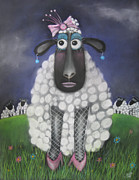 Whimsical Pastels Posters - Mutton Dressed As Lamb Poster by Caroline Peacock