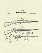 Weapon Drawings Posters - Muzzle Loading Firearm 1839 Patent Art Poster by Prior Art Design