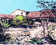 Adobe Mixed Media Prints - My Adobe Hacienda Print by Pg Reproductions