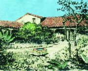 Adobe Drawings Prints - My adobe hacienda Print by Roberto Prusso