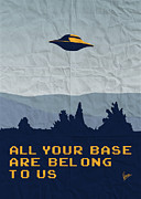 Ufo Digital Art Acrylic Prints - My All your base are belong to us meets x-files I want to believe poster  Acrylic Print by Chungkong Art