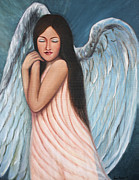 Chicano Painting Prints - My Angel in Blue Print by Sonia Flores Ruiz