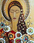 Religious Art Painting Prints - My Angel Modern Icon Print by Luiza Vizoli