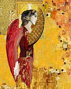 Gold Mixed Media Prints - My Angel Series02 Print by Maria Szollosi