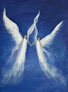 Guardian Angel Print Prints - My Angels Print by Leslie Allen