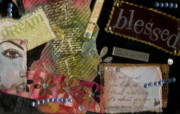 African-american Mixed Media Posters - My Art Journal - Blessed Poster by Angela L Walker