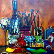 Wine Bottle Art Posters - My Art Studio Poster by Patti Schermerhorn
