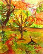 Apple Art Pastels Posters - My Art Teachers Crab Apple Tree Poster by Helena Bebirian