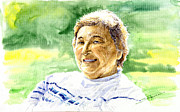Watercolour Painting Metal Prints - My aunt Rose Metal Print by Yuriy  Shevchuk