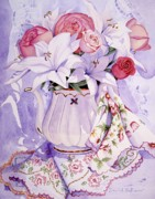 Teapot Paintings - My aunts linens by Carol VonBurnum