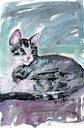 Kittens Mixed Media Prints - My Baby Buster Kitten Portrait Print by Ginette Fine Art LLC Ginette Callaway