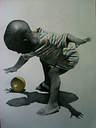 Little Boy Drawings Framed Prints - My Ball Framed Print by Dennis Osakue