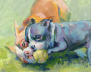 Boston Terrier Art Paintings - My Ball by Kimberly Santini