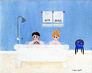 Antiques Paintings - My Bathroom by Linda Ginn