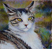 Kitty Pastels Posters - My Beautiful Cat Poster by Susan Jenkins