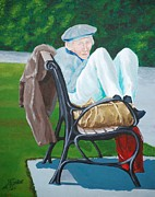 Man On Bench Prints - My Bench Print by Gene Ritchhart