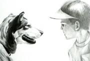 Dogs Drawings - My Best Friend  by David Ackerson