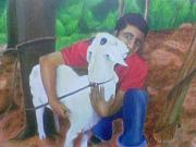 Goat Painting Originals - My Best Friend by Jestin Xavier