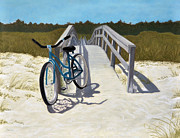 St George Pastels Framed Prints - My Blue Bike Framed Print by Jan Amiss