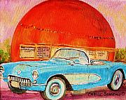 Montreal Restaurants Paintings - My Blue Corvette at the Orange Julep by Carole Spandau