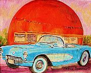 My Blue Corvette At The Orange Julep Print by Carole Spandau