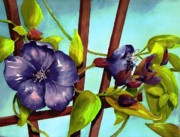 Trellis Paintings - My Blue Heaven by Maryann Schigur