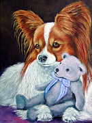 Papillon Dog Paintings - My Blue Teddy - Papillon Dog by Lyn Cook