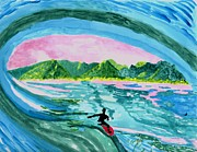 Surfer Art Originals - My Brothers Wave by Connie Valasco