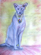 Myth Pastels Prints - My cat Bastet Print by Mark William Chapman