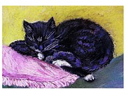 Pillow Pastels Posters - My Cat Poster by Emily Michaud