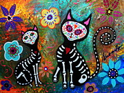 Mexican Art Painting Originals - My Cats Dia De  Los Muertos by Pristine Cartera Turkus