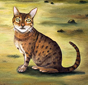 Bengal Painting Framed Prints - My Cats Worst Nightmare Detail Framed Print by Leah Saulnier The Painting Maniac