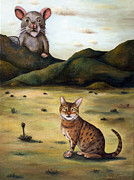 Humor Painting Prints - My Cats Worst Nightmare Print by Leah Saulnier The Painting Maniac