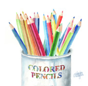 Pencils Paintings - My Colored Pencils by Arline Wagner