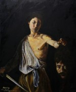 David And Goliath Paintings - My copy of Caravaggios David with the head of Goliath by Dave Manning