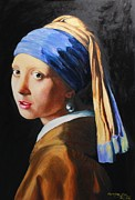 Girl With A Pearl Earring Paintings - My Copy of Johannes Vermeers Girl With A Pearl Earring by Dave Manning