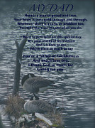 Honor Mixed Media Framed Prints - My Dad Poem Framed Print by Debra     Vatalaro